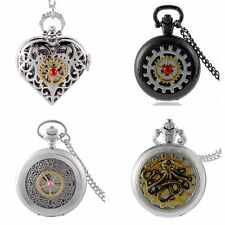 Retro Steampunk Style Pattern Pocket Watch Quartz Chain Necklace Pendant Gifts