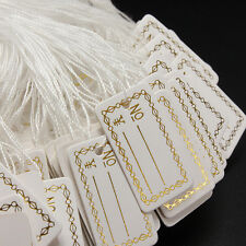 Strung String Tags Swing Price Jewelry Clothing Tie On Paper Labels HIAU