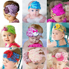 Lovely Baby Kids Girl Infant Peacock Feather Headband Lace Flower Hair Band
