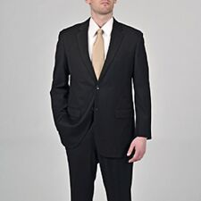 Solid Black Super 150 Fabric Mens Two Piece Suit Flat Front Pants