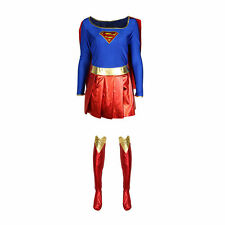 ADULT LADIES SUPER GIRL COSTUME HERO SIZE 8 10 12 14 16 18 WITH BOOT COVERS