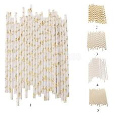 25pcs Gold Mixed Print Hawaiian Beach Party Cocktail Fruit Juice Drinking Straws