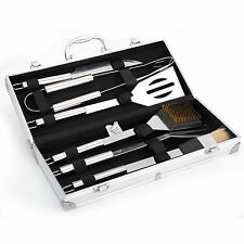 Stainless Steel Barbecue BBQ Tool Set Aluminium Carry Case For Camping Picnic