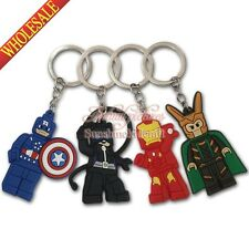 New 4pcs Super heroes PVC Cartoon Keychain Keyring for Bags/Wallet decorate Gift