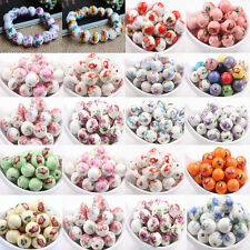 10/20Pcs Flower Pattern Round Ceramic Loose Spacer Beads Charms Findings DIY12mm