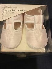 Christening Shoe Baby Babies Ivory Satin Embroidered Cross Early Days 0-3 3-6 M