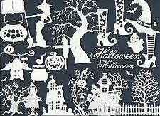 LOT 31 PCS. SAMPLER-VARIED HALLOWEEN DIE CUTS* HOUSE GHOST WITCH TREE *READ POST
