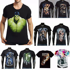 3D New Popular Mens Slim Stamp Short Sleeve Casual Shirt T-Shirt Tee Top Blouse