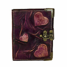 Embossed Hearts on a Purple Refillable Leather Journal / Notebook / Handmade