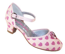 Girls Children Low Heel Pink Ivory Sparkly Shoes Pink Hearts Gem Trim Party New