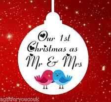 Personalised Christmas tree decoration bauble 1st First Christmas as Mr & Mrs