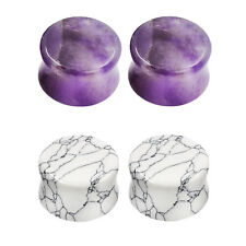 2-PAIRS-Stone Ear Gauges-Ear Plugs Double Flared-White Turquoise & Amethyst
