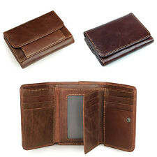 Fashion Mens Genuine Leather Trifold Wallet Vintage Coin Purse Short Card Holder