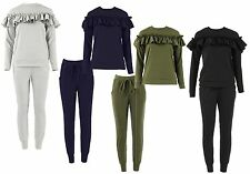 NEW WOMENS LADIES LONG SLEEVES FRILL DETAIL TOP AND JOGGER LOUNGE WEAR SUIT SET