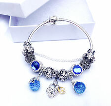 authentic pandora bracelet sterling silver with disney charms mom wife blue 925