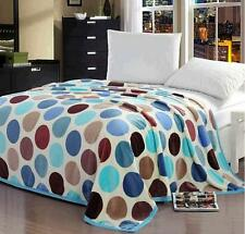 Color Dots Soft Warm Plush Flannel Bed Sleep Blanket Flat Single Double Queen LO