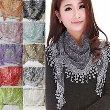 NEW Women Sheer Short Scarf Wrap Shawl Lace Hollow Tassel Floral Silk Scarves GT