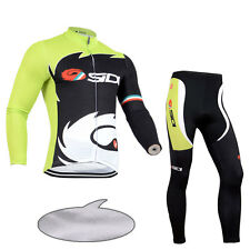 Mens Winter Road Cycling Uniforms Thermal Fleece Jersey Shirt Pants Kits New