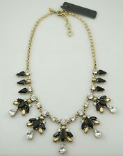 J.CREW Multi Color Stone White Crystal Gold Tone Chain Statement Necklace NWT
