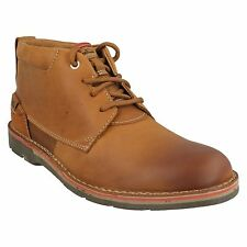MENS SIZE CLARKS TAN BROWN LEATHER LACE UP CASUAL ANKLE BOOTS EDGEWICK MID