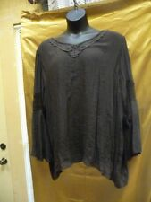 L & B Women Dark Brown Long Sleeves Asym Top Lace V Neck Lace Sleeve Plus Sizes