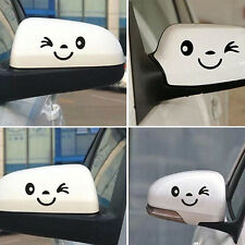 1 Pair Cute Smiling Face Car Rearview Mirror Stickers Reflective Decals Dulcet
