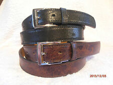 """IDEAL GIFT MENS BLACK / BROWN 30m/m WITH ANTIQUE EFFECT LEATHER BELT 32""""- 48"""""""