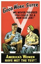 World War II Rosie The Riveter Good Work Sister Home Front Den Decor Poster