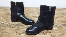 New Womens Chaps Dayna Fashion Heeled Black Zip Up Buckle Ankle Boots (J164)