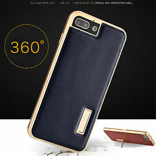 Genuine Leather Case Aluminum Metal Bumper Frame Stand Cover For iPhone 7 Plus/7