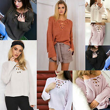 Women Sexy Bandage Deep V-neck Long Sleeve Knitwear Jumper Casual V Neck Sweater