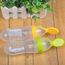 1Pc Infant Baby Silicone Feeding With Spoon Feeder Food Rice Cereal Bottle New