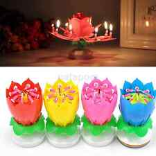 Romantic Musical Lotus Flower Rotating Happy Birthday Party Gift Candle Lights U