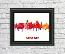 Miami City Skyline Print City Silhouette Abstract Poster Art Miami Outline