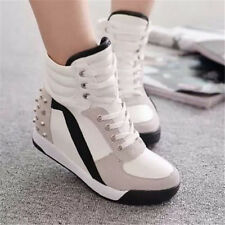 Womens Sneakers Sports Comfort Shoes Rivet Hidden Wedge Heel High Top  Shoes