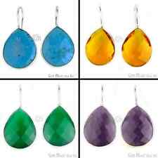 Select Your Gemstone Dangle Earring 21x26 mm Bezel Earring, Silver Plated 90011