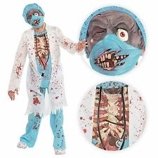 Boys Zombie M.D. Surgeon Medical Doctor Scrubs Mask Kids Halloween Gory Costume