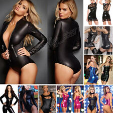 Women Leather Tight Coverall Bodysuits Clubwear Dress Bodysuits underwear LOT