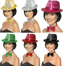 Womens Fancy Dress Hen Night Dance Party Sequin Trilby Gangster Hat Pack Of 3