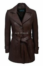 Ladies Style 2218 Brown Classic Trench Mid Length Designer Leather Jacket Coat
