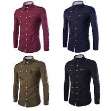Fashion Mens Luxury Stylish Casual Dress Slim Fit T-Shirt Casual Long Sleeve 1pc