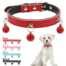 Leather Padded Puppy Dog Collars with 3 Bells for Small Dogs Yorkie Chihuahua