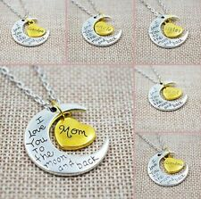 English Letter Thanksgiving Necklace LOVE Heart/Moon Pendants Family Gift New