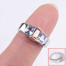 Genuine 925 Sterling Silver Colorful Square Crystal Ring Size 7 Jewelry H495