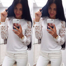 Trendy Women Splicing See-through Sleeve Lace T-shirt Tee Tops White Loose Shirt