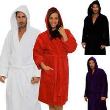 Luxury Terry Velour Hooded Mens Womens Unisex Bathrobe 100% High Natural Cotton