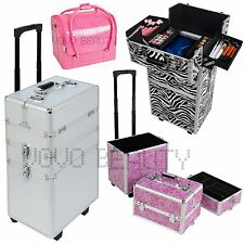 Aluminum Rolling Makeup Case Salon Cosmetic Box Organizer Trolley Train Case Bag