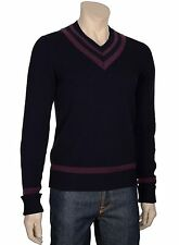 $250 BLOOMINGDALES Mens Navy Blue V-Neck Cashmere Sweater Small S Euro 48