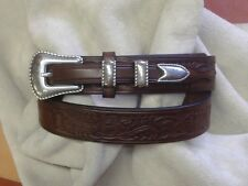 Hand Made Embossed English Bridle Leather Ranger Belt Western Buckle Set