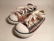Toddler Boys Tan Plaid Converse All Star tennis shoes sneakers size 8